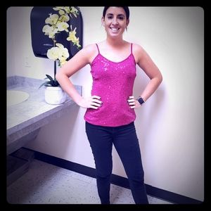 Fuschia sequin top from Express